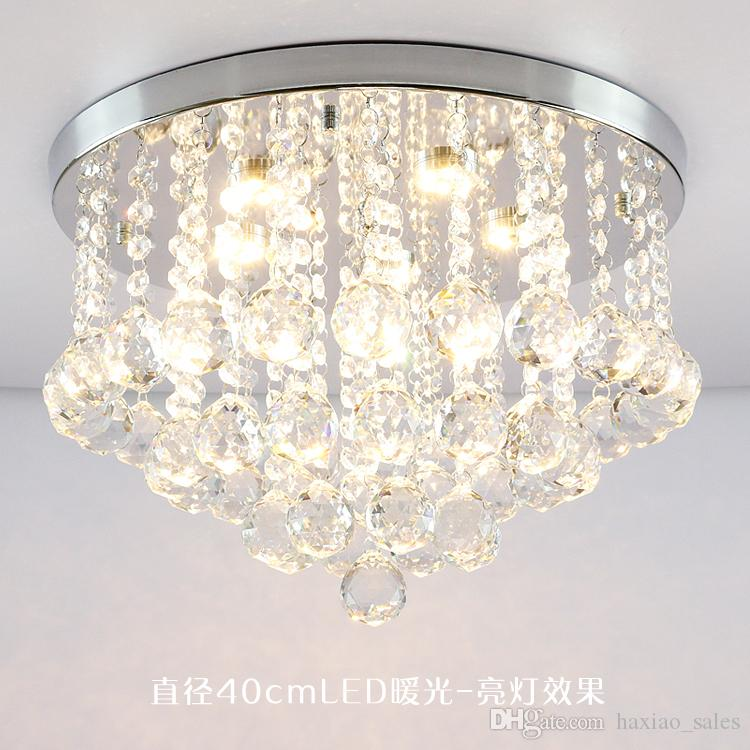 Round K9 Crystal Ceiling Light Droplights Silver Chrome Ceiling ...