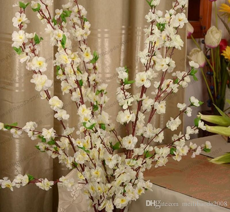Artificial Cherry Spring Plum Peach Blossom Branch Silk Flower Tree For Wedding Party Decoration white red yellow pink color MYY