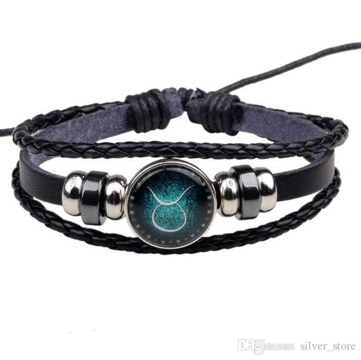 Hohe Qualität zwölf Konstellation Armband Handgemachter Perlen Retro DIY Armband FB028 Mischungsauftrag 20 Stück viel Perlen, Strangs