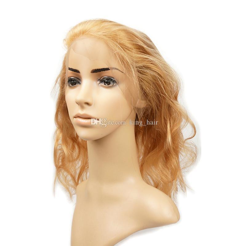 Fasci di capelli umani biondo fragola # 27 onda del corpo con 360 fascia frontale in pizzo pieno con capelli bambini 4 pezzi / lotto