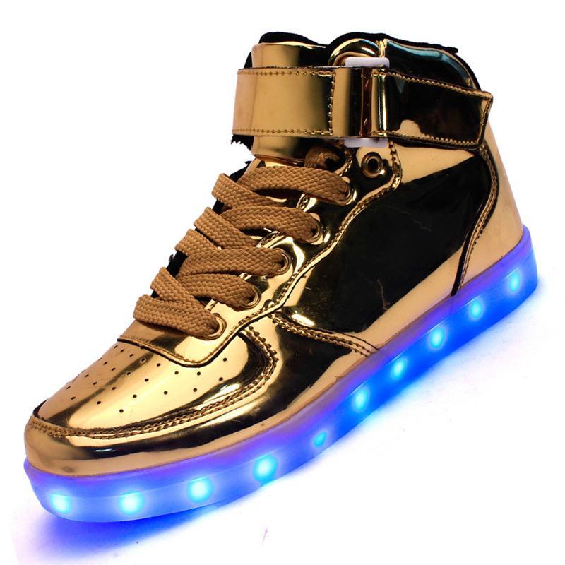 outlet store 3c98b 576c0 7 Farben LED leuchtende Schuhe Gold Silber High-Top Herren Damen Leuchten  Korb LED Schuhe für Erwachsene USB wiederaufladbare Schuhe 35-46
