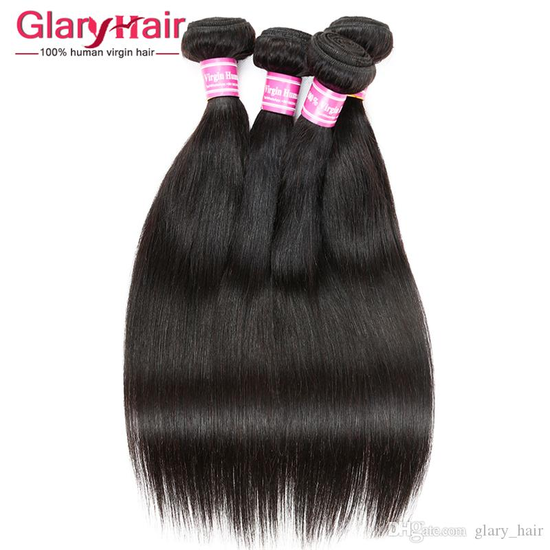 Glary Sıcak Satış Gerçek İnsan Saç Uzantıları Atkı Vizon Brezilya Saç Demetleri Düz Işlenmemiş Bakire Saç Demetleri 4 5 6 Parça Ücretsiz Gemi