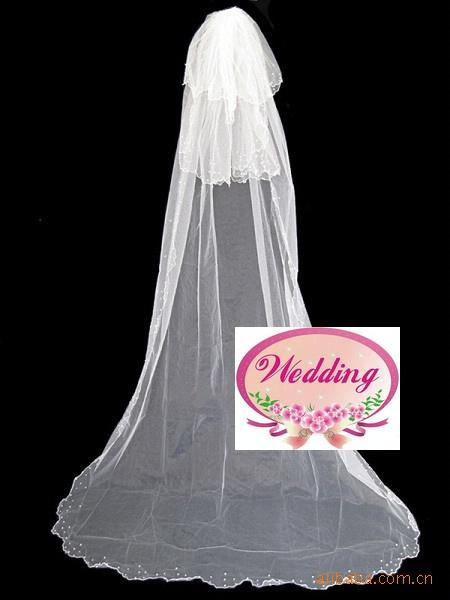 Very cheap Hot Sell 2017 new style 3 layer veils Wedding Bridal veil Crescent edge pearl Pearls bead edge with comb 3m long