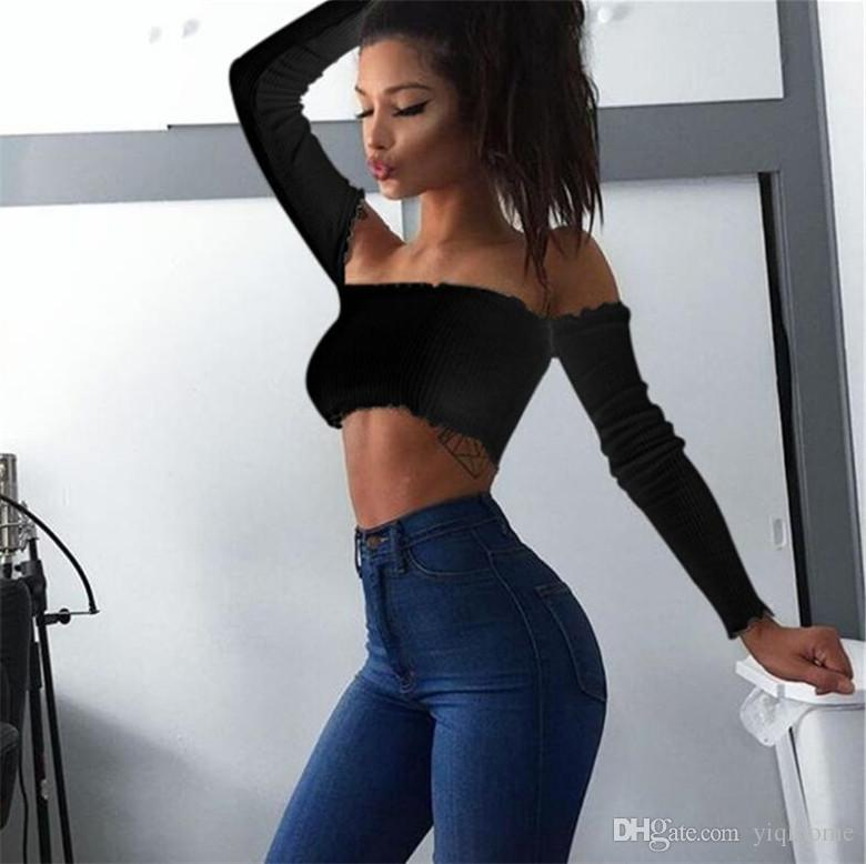 Camiseta de manga larga 2019 Sexy Off Shoulder Party Bustier Crop Top Elastic Summer Beach Tube Mujer Tops Lady Short Tank