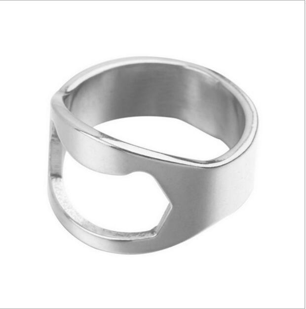 Portátil de color plata barras de acero inoxidable herramienta de la cerveza de botella del anillo de dedo Abrelatas Bottel favores de 2.5cm * 2cm barra de herramientas de cocina