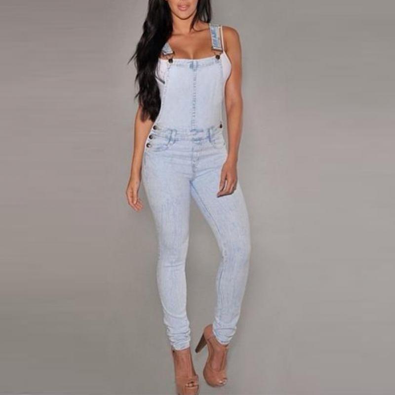 866f156523e4 Casual para mujer damas Slim Denim correa pantalones Romper Jumper Jumpsuit  Jeans largo