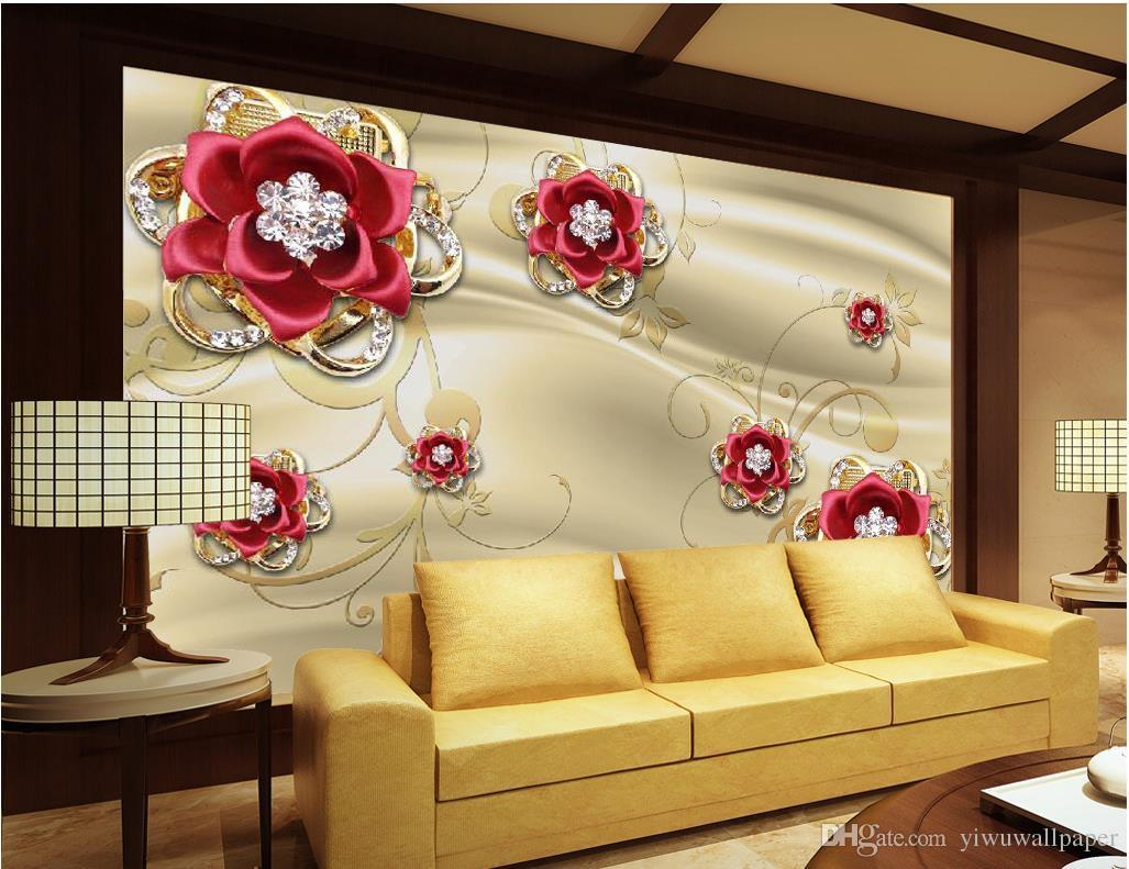 Golden Jewelery Diamond Red Rose Tv Wall Mural 3d Wallpaper 3d