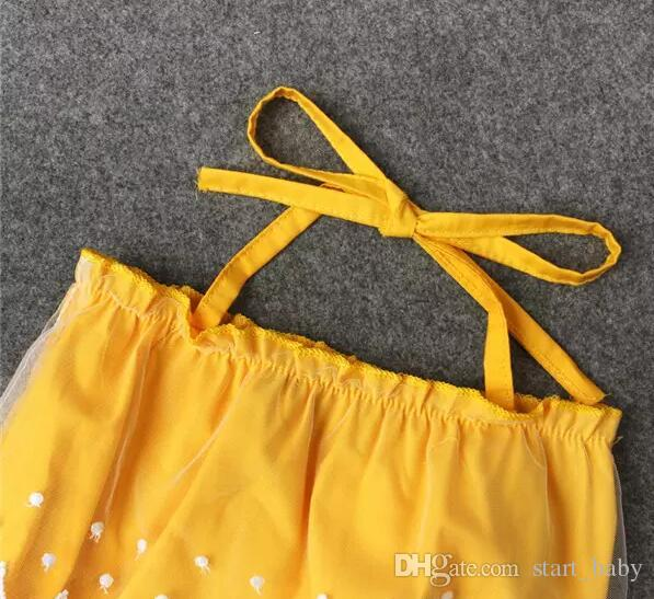 Baby Girls Lace Up Yellow Romper Lace trimmings Romper crotch snapper open Infants cute summer outfits 4sizes for 1-2T A080