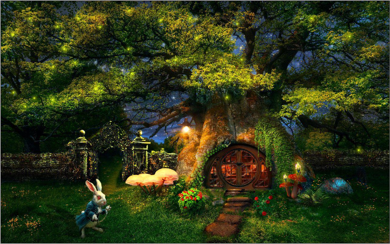2019 7x5ft alice wonderland garden tree house rabbit custom photo studio background backdrop. Black Bedroom Furniture Sets. Home Design Ideas