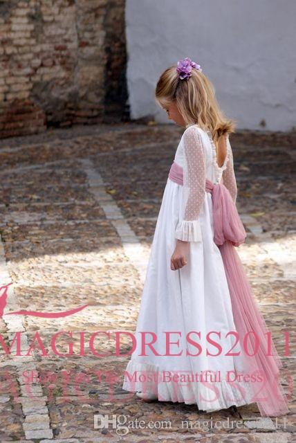 Lovely Wedding Flower Girl Dresses for Toddler Infant Baby White Lace Ruffles Tulle Jewel Neck 2019 Cheap Little Child Formal Party Dress
