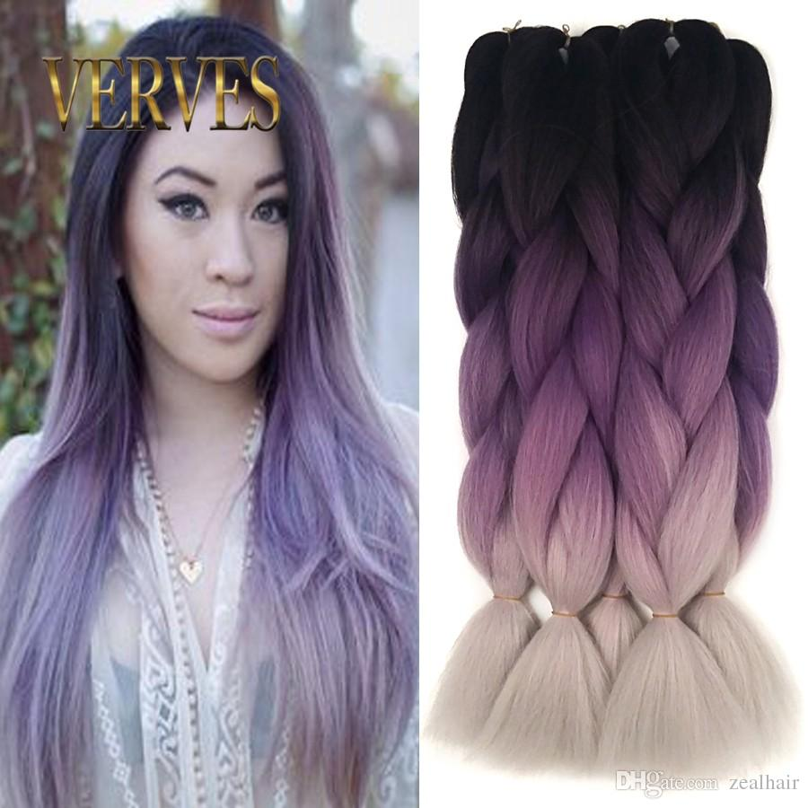 Ombre Kanekalon Braiding Hair Braid 100gpiece Purple Gray High