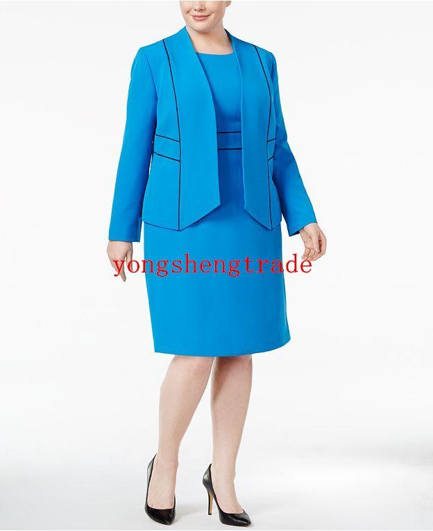 316132bb2bb68 Compre Blazer Con Diseño De Talla Grande Vestido Con Cintura Anillada Azul  A Medida Tallas Grandes Para Mujer A  103.37 Del Yongshengtrade