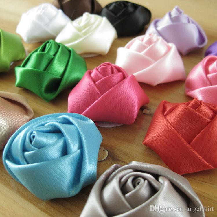 200 adet / grup 4 CM saten rulo rozet saç süsler için el yapımı çiçek gül, giysiler DIY aksesuar