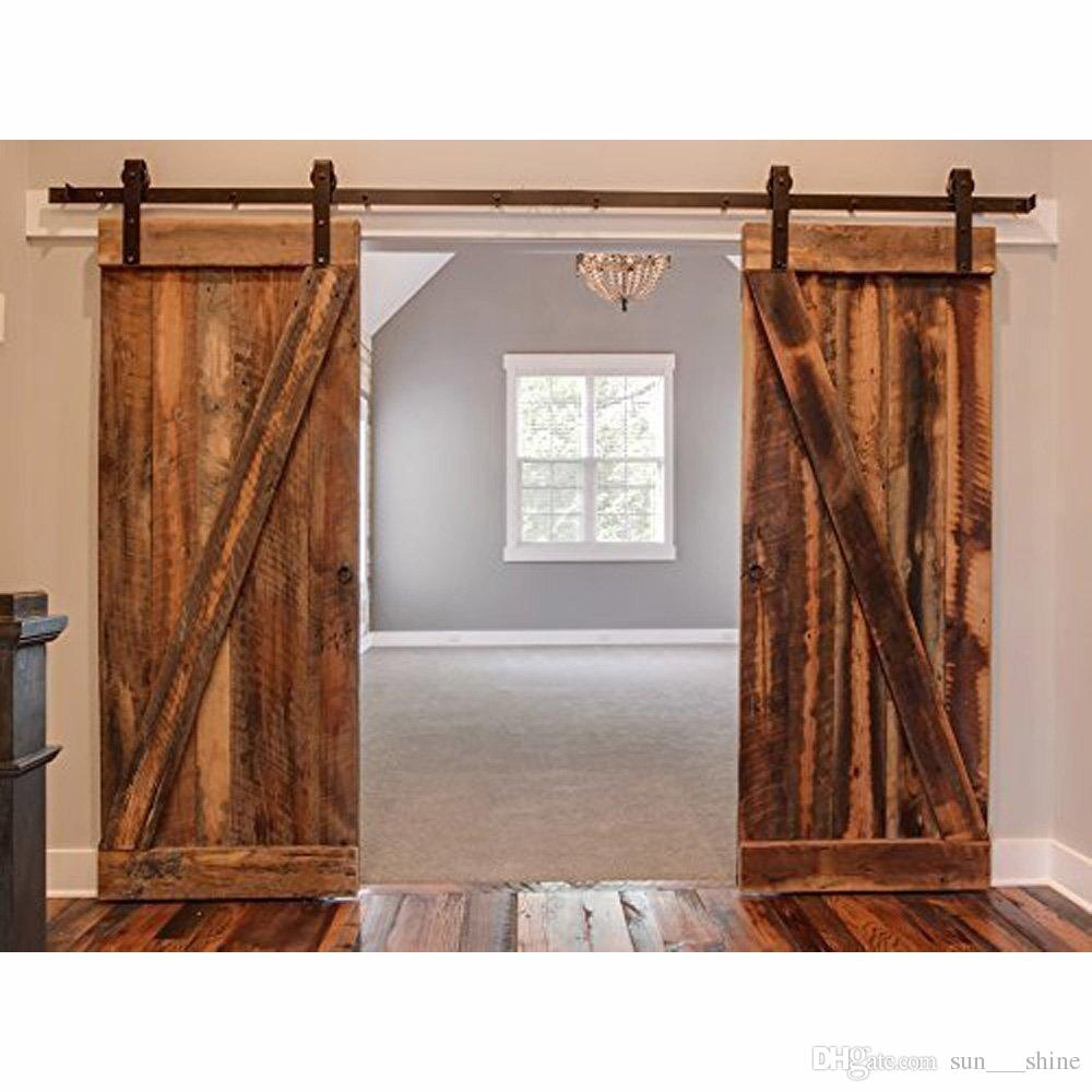 2018 75ft Antique Double Sliding Barn Door Hardware Roller Track Kit Black Frosted For Outside Or Inside From Sun Shine 15076