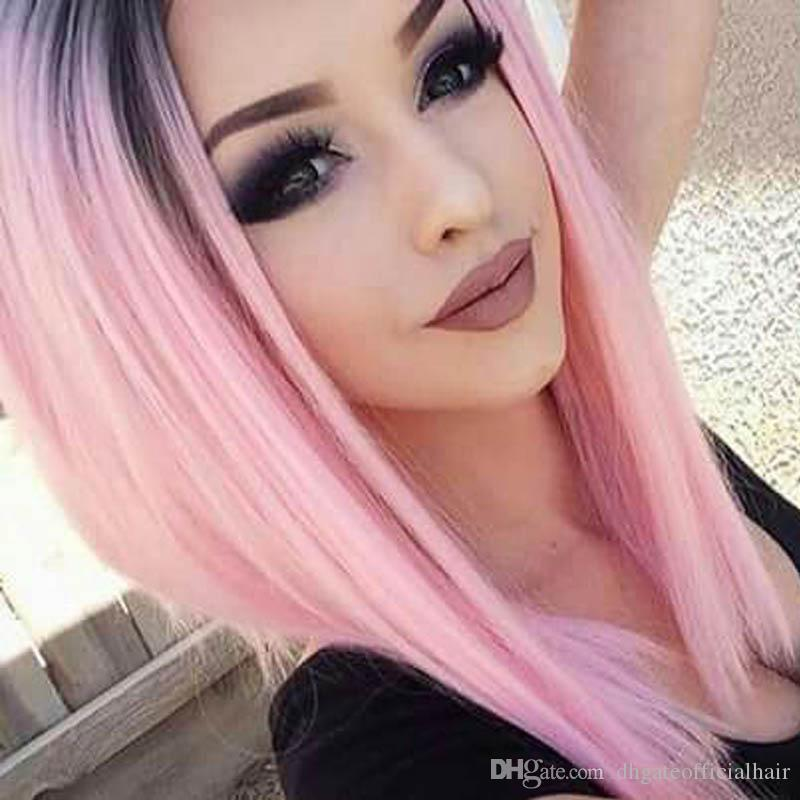1bpink wigs two tone ombre human hair wig full lace human