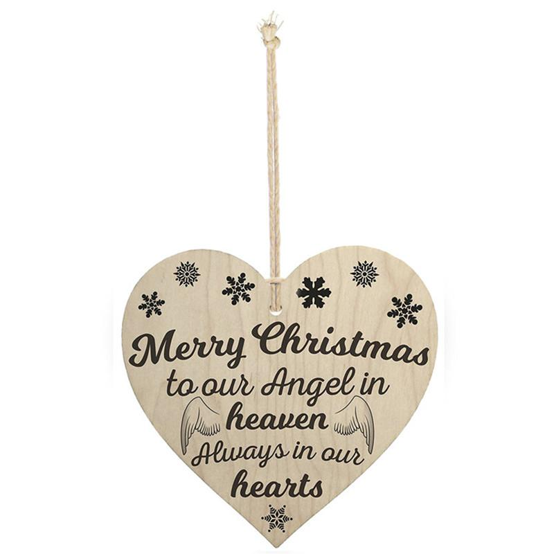 4 X 4 Wood Sign Plaque Merry Christmas To Our Angel In Heaven Always ...