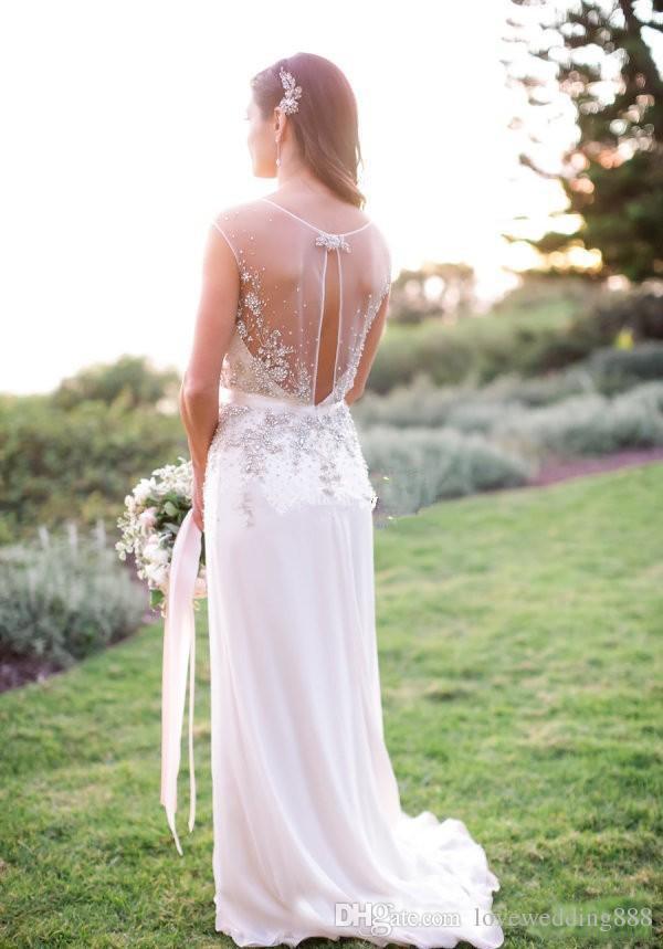 2018 Sheer Cap Sleeve Beads Crystal Garden Wedding Dresses Jenny Packham V Neck Sheath Wedding Party Bridal Gowns Custom