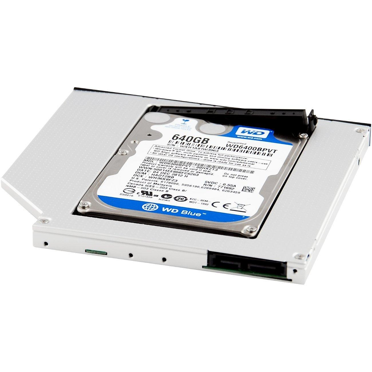 Wholesale- CAA-Hot SATA Optical Bay 2nd Hard Drive Caddy, Universal for  9 5mm CD / DVD Drive Slot (for SSD and HDD)
