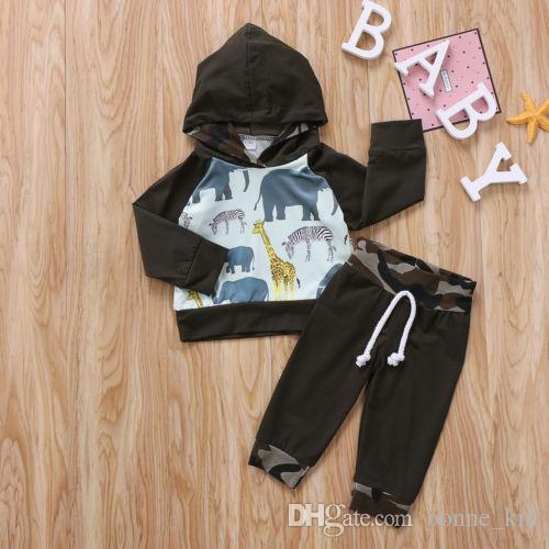e0d0338fc Animals Toddler Hoodie Baby Kid Boys Clothes Tops T-shirt Camouflage ...