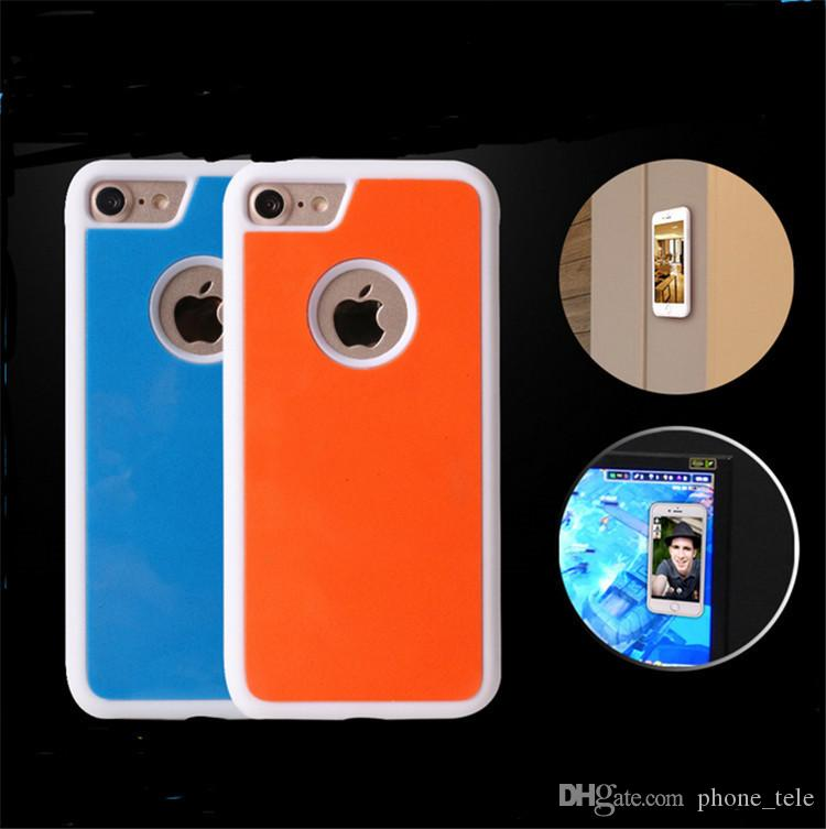 Anti Gravity Selfie Absorption Case Colorful Antigravity Nano Suction  Sticky Cases Hybrid PC TPU Cover Case For iphone 7 6 6S Plus 7G Hot