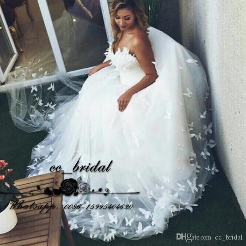 Beautiful Butterfly Ivory White Wedding Dresses 2017 Sweetheart ...