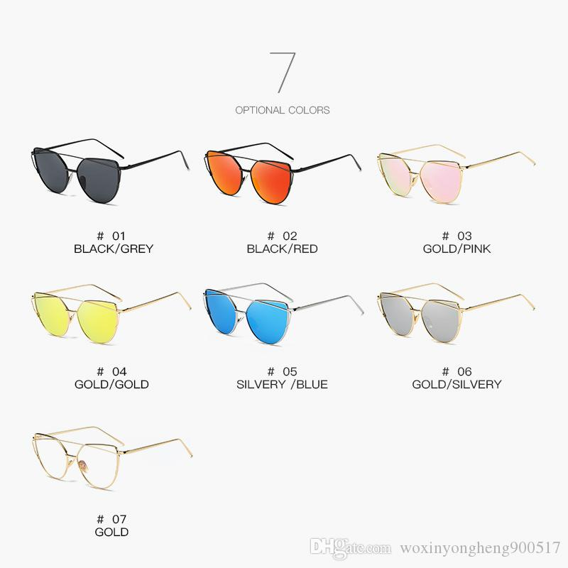 Luxury sunglasses for women Europe ae United Statnd thes fashion trend cat eye sunglasses metal color film glasses