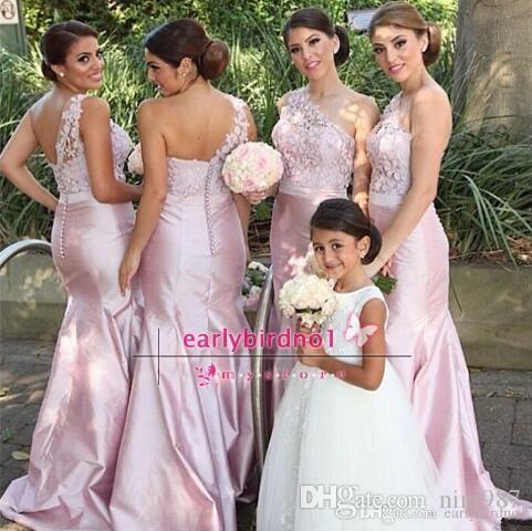 Abiti da damigella d'onore spalla 2017 damigella d'onore vintage pizzo sirena abiti da damigella d'onore di primavera blush rosa taffettà abiti da cerimonia formale sotto $ 90
