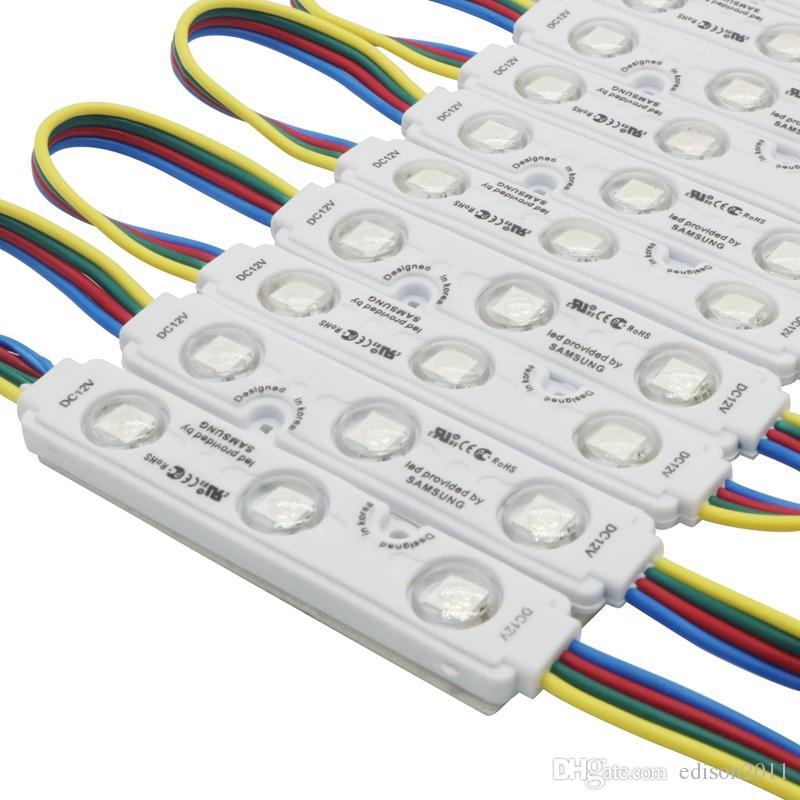 Edison2011 2017 Nuovo 5050 RGB 3leds Modulo Led Iniezione 12VDC 0.75 W RGB LED Moduli con Lente Impermeabile Spedizione Gratuita