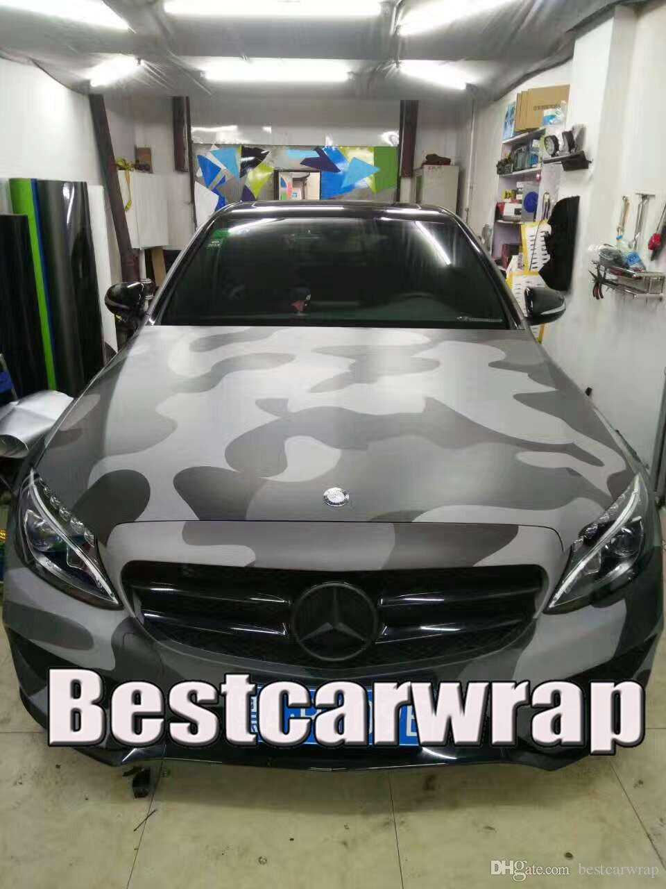 Large Black Gray Camo Vinyl Full Car Wrapping Camouflage