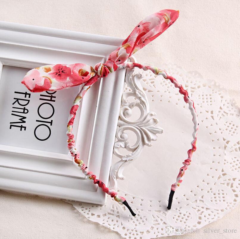 Vendita calda ornamenti capelli floreale carino panno orecchie di coniglio capelli cerchio capelli piombo fascia TG046 ordine della miscela 30 pezzi un sacco