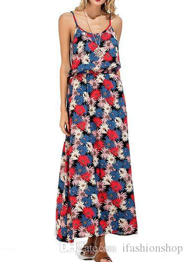 4c6fe0fd6f7548 Bohemia Resort Backless Flower Print Open Back High Waist Maxi Dress ...