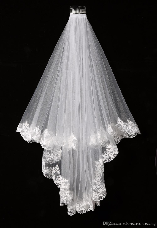 Elegant Weiß / Elfenbein Zwei Schichten Tüll Net Tüll Brautschleier 1,5 mt Lange Spitze Rand Tüll Schleier Für Hochzeit Neues Freies Verschiffen SLV002
