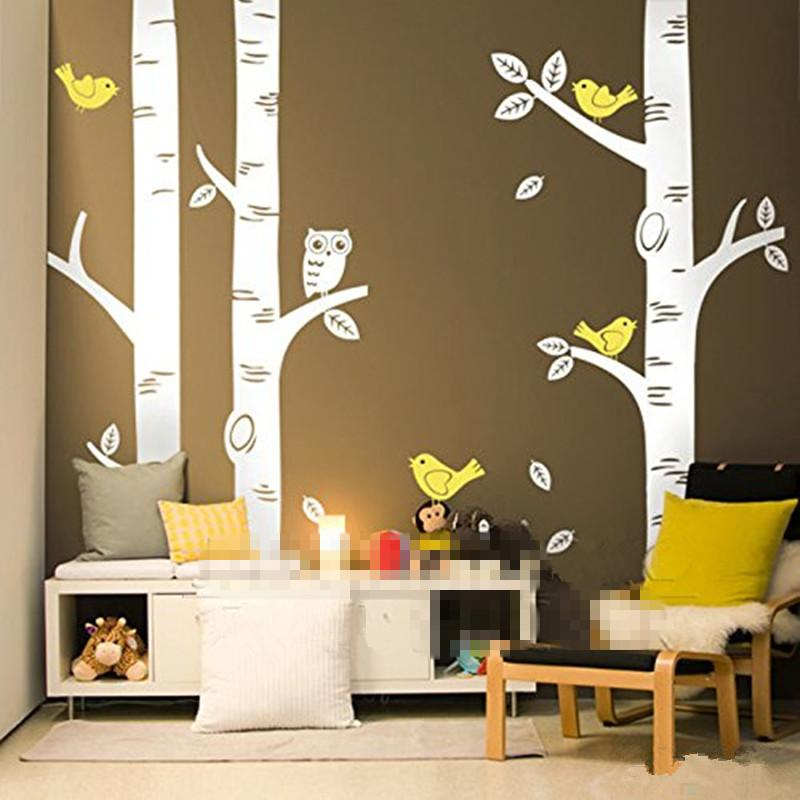Cute Owl Birds Birch Tree Wall Sticker Decal Wallpaper Mural Nursery Baby  Forest Home Background Decoration 250*250cm D639 Large Wall Art Stickers  Large ...