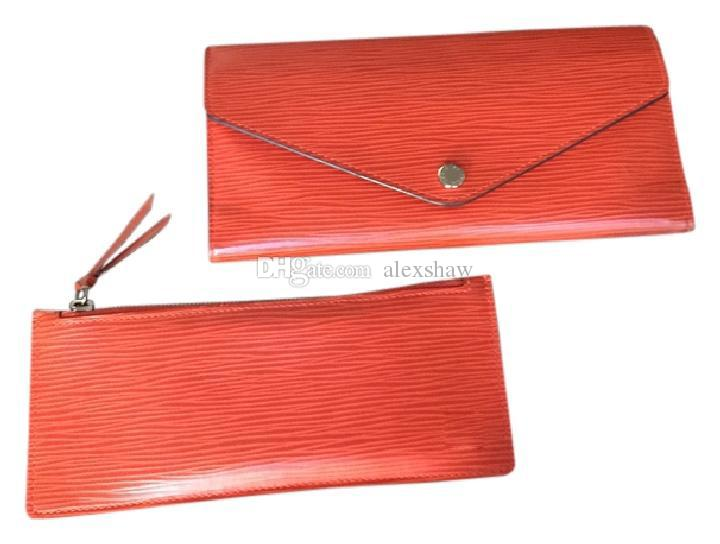 103af2cb05 Brand New! Have Brown letters Canvas Josephine Wallet Fuchsia Color For  Women Josephine Bag Damier Ebene designer Leather ladies bag