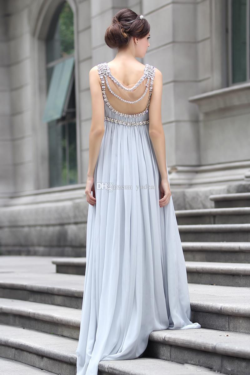 New Arrival 2019 Spring New Modern Hot Empire Scoop Neck Sleeveless Floor-Length Zipper at Side Chiffon Draped Crystal Bridesmaid Dress Grey