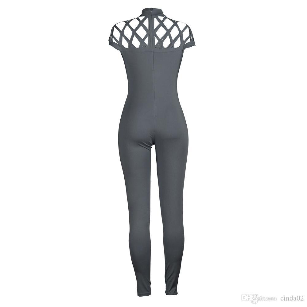 Moda donna girocollo collo alto manica gabbia tute da gioco 2017 nuove tutine lunghe donne tute estate manica corta da donna