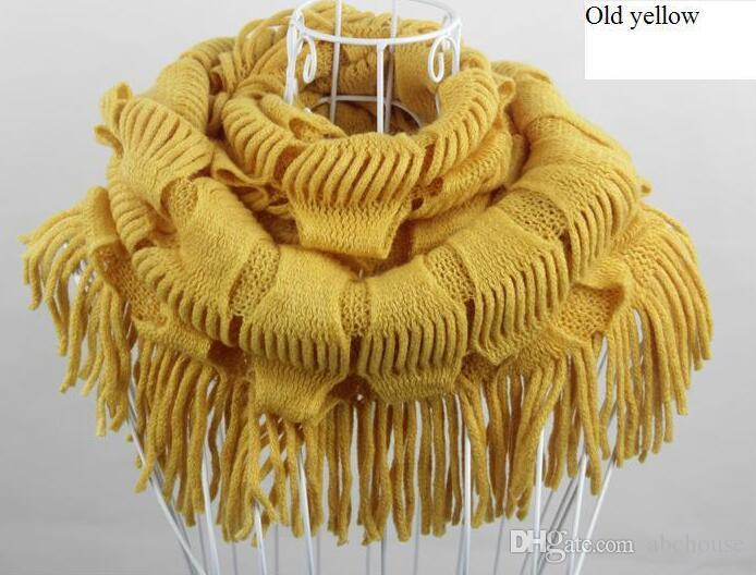 Womens Winter Warm Knitted Layered Fringe Tassel Neck Circle Shawl Snood Scarf Cowl Girl Solid Long Soft Infinity Scarves Wraps Free Shippin