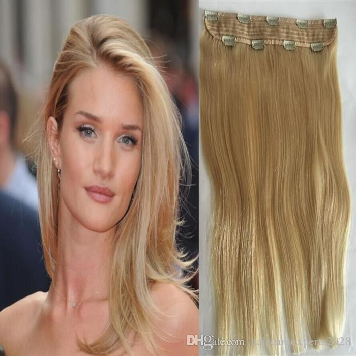 Hair Factory Supply Single Piece Clip In Hair Extensions100g Blonde