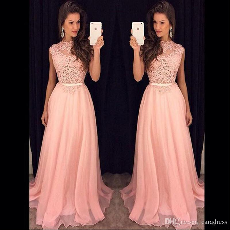 2017 Elegant Pink Prom Dresses Illusion Lace Top Chiffon Long Flow A
