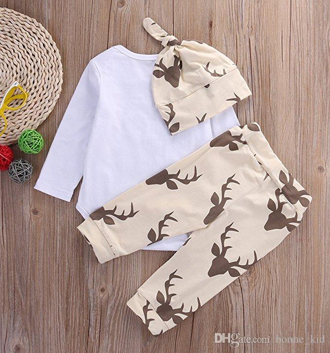 3 Peças um Conjunto Casual Crianças Roupas Para Recém-nascidos Do Bebê Meninos Bodysuits Engraçados + Veados Calças + Chapéu Infantil Bebê Terno Atacado Transporte Rápido DHL
