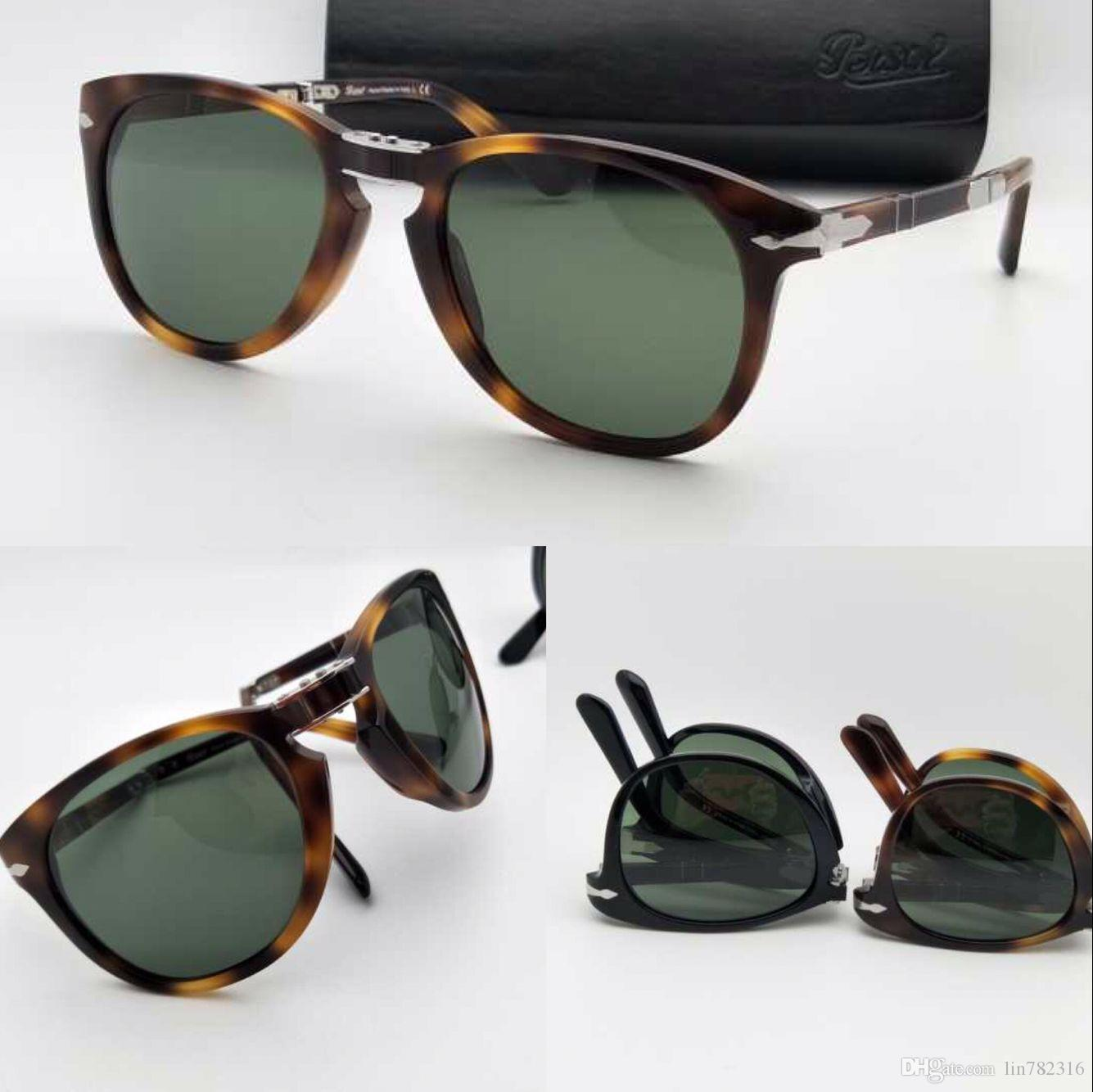 0e900ab637e Persol Sunglasses 714 Men Sunglasses Pilots Shape Plastic Frame Retro Men  Design Glasses Lenses Classic Design Folding Style Italian Designe  Sunglasses For ...