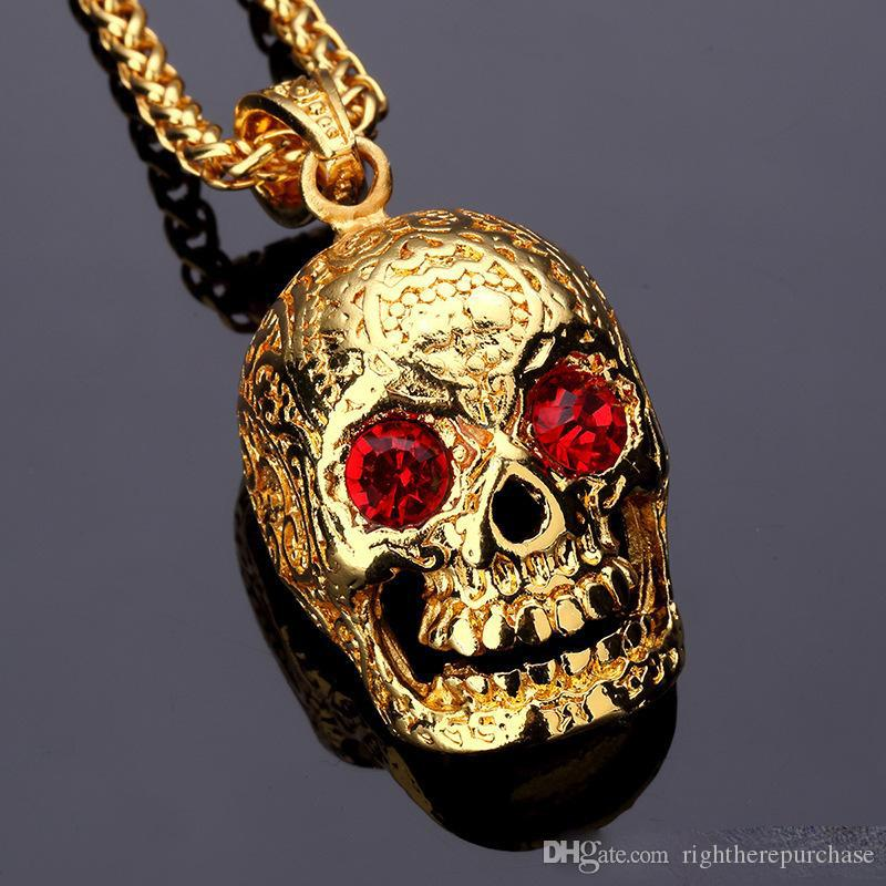 Wholesale Fashion Mens Hip Hop Skeleton Necklace Jewelry