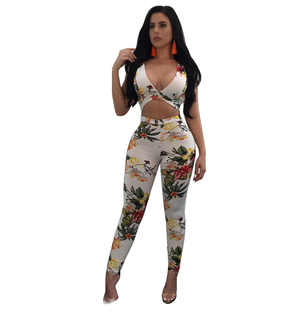 Mulheres Sexy Profundo Decote Em V Macacões Macacão Moda Hot Backless Oco Out Bandage Bodysuit Impresso Playsuit Cocktail Party Clubwear