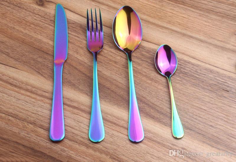 Juego de Cubiertos de Acero Inoxidable Rainbow Gold Plated Dinnerware Tenedor Cuchillo Cuchara Set de Cena para Boda 4 unids / set