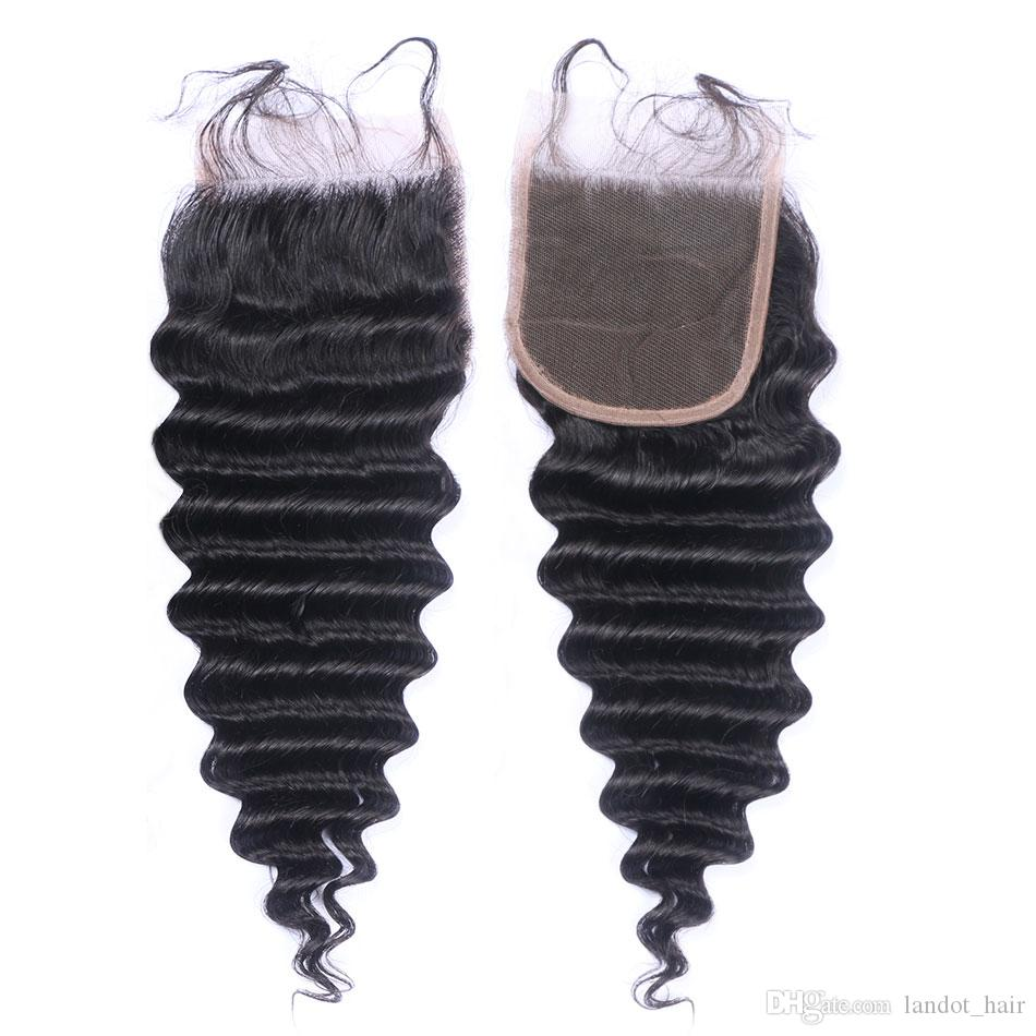 Chiusura brasiliana del merletto dei capelli umani vergini peruviani Indiani mongoli cambogiani casuali dell'onda muta allentata chiusure ricce crespe profonde vere