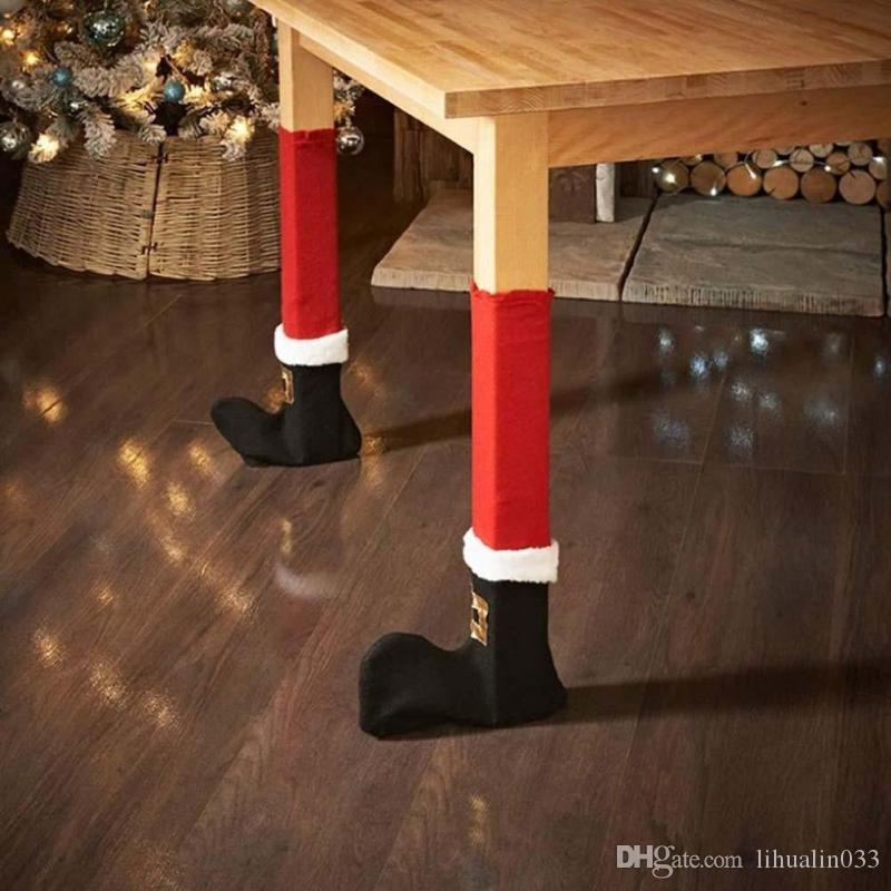 Christmas Supply Christmas Decorations Warm Santa Claus Leg Chair Foot Covers Lovely Table Decor For Home New Year Santa Chair Foot Cover Home & Garden