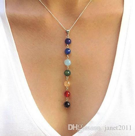 Yoga Necklaces Chakra Pendant Chara Balancing Pendent Silver Metallic 7 Colour Natural Crystal Beads Yoga Gifts Chakra Necklaces