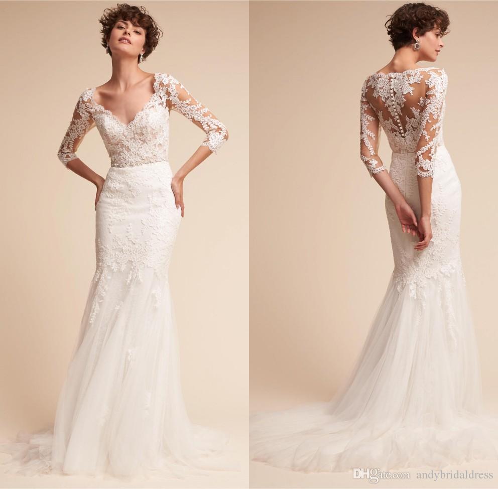 Vintage V Neck Trumpet Boho Wedding Dress 3/4 Sleeves