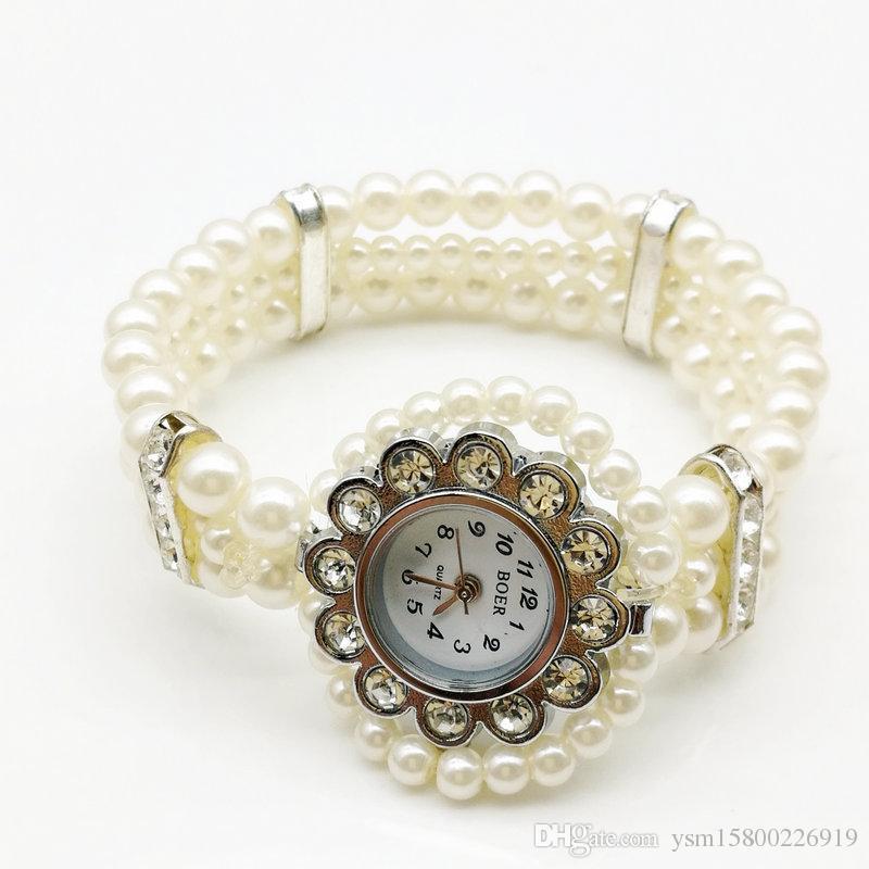 1 Stück versandkostenfrei elastisches metall weiß nachahmung perle prozess strass armband uhren