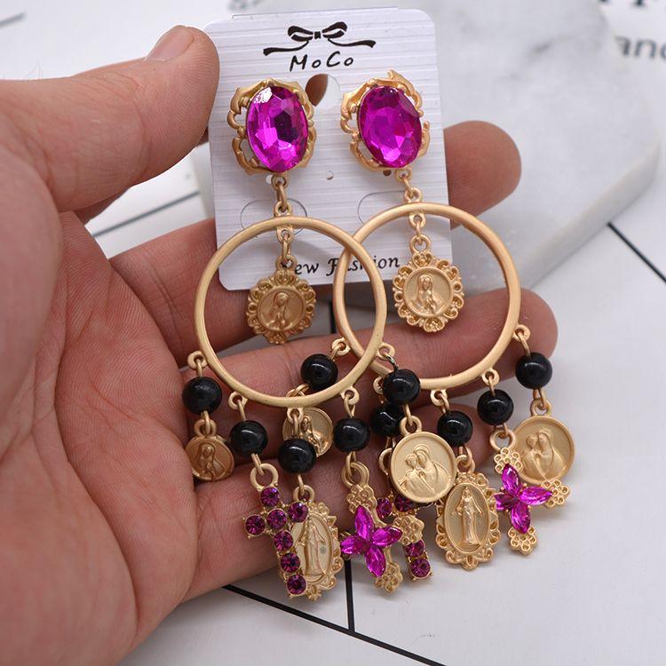 long cross brincos grandes crystals big tassel dangle earrings keys night club evening party gold metal drop ebig circle tassel earrings